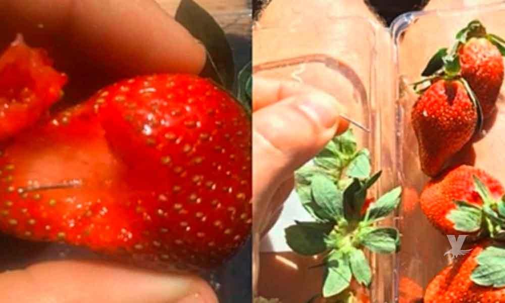 Alerta por la aparición de agujas escondidas en fresas