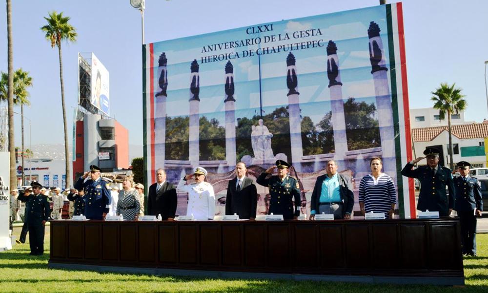 Conmemoran autoridades civiles y militares Gesta Heroica de los Niños Héroes de Chapultepec en Ensenada