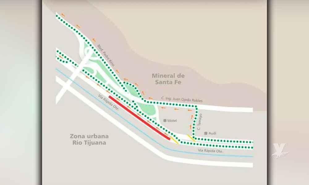 Mañana cerrarán parcialmente la Vía Rápida Oriente en Tijuana