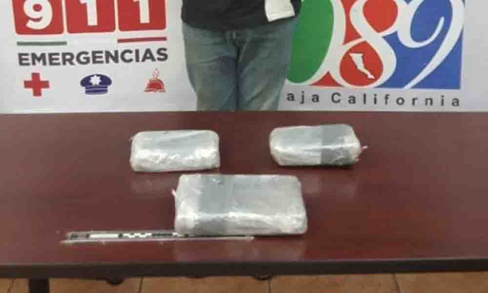 Aseguran a sujeto con más de 3 kilos de droga en Mexicali