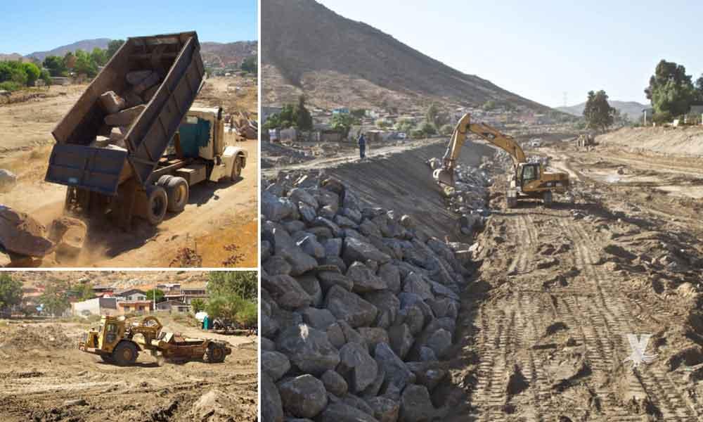 Avanza Gobierno del Estado con obra de encauzamiento del Río Tecate