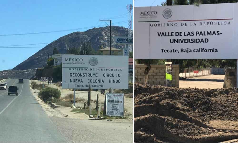 Avanzan obras de pavimentación en carreteras de alimentación de Cerro Azul y Valle de las Palmas en Tecate