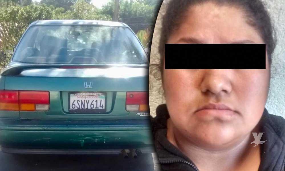Mujer es asegurada mientras manejaba automóvil robado en Tecate