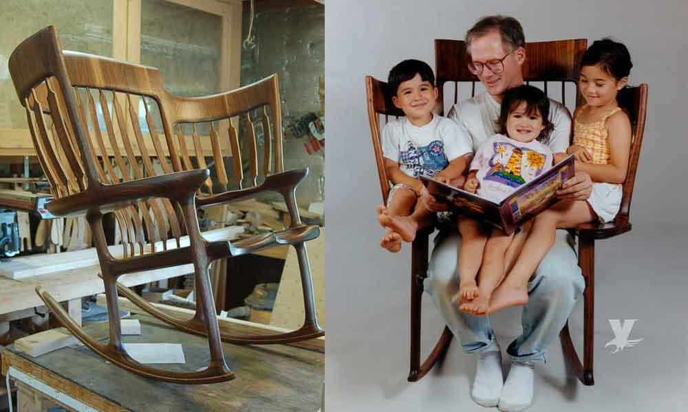 Hombre inventa la silla mecedora 'StoryTime' que cada abuelo necesita