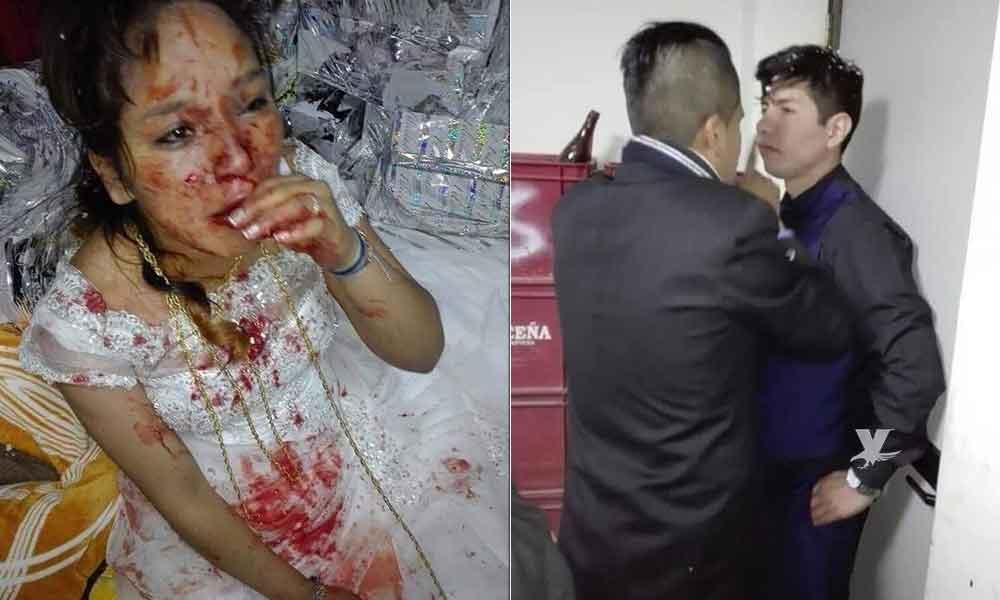 Por culpa de la suegra, novio golpea a su esposa en plena boda