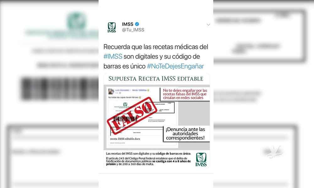 ¡Cuidado! Circula en redes una version editable de la receta médica del IMSS, es falsa