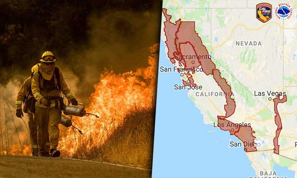 """San Diego en """"bandera roja"""" por alto riesgo de incendios"""