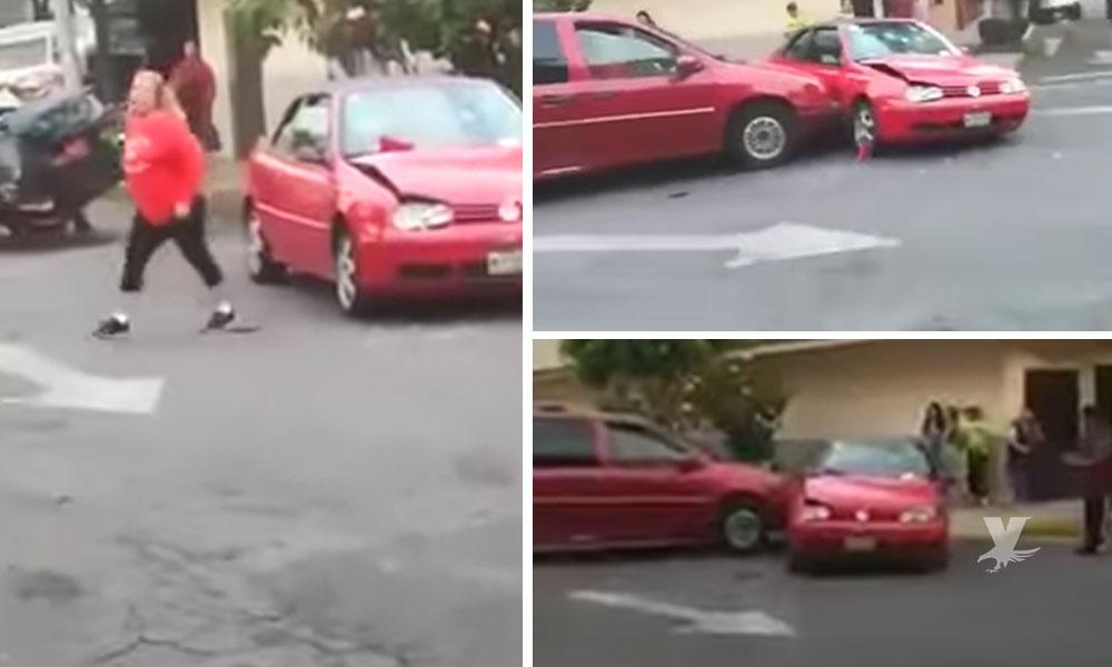 (VIDEO) #LadyChoques chocó por manejar en sentido contrario y continuó en repetidas ocasiones