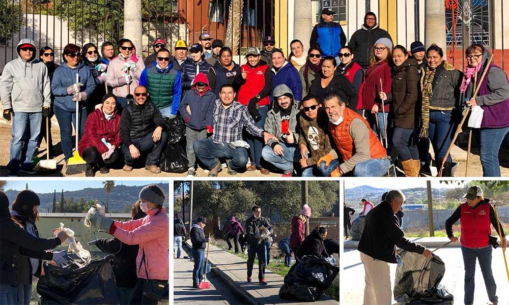 Durante mega jornada comunitaria limpian la avenida Juárez en Tecate