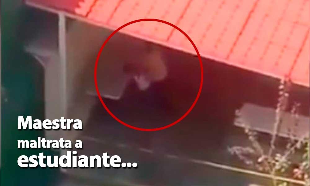 (VIDEO) Maestra golpea y ahorca a un niño en un colegio de México