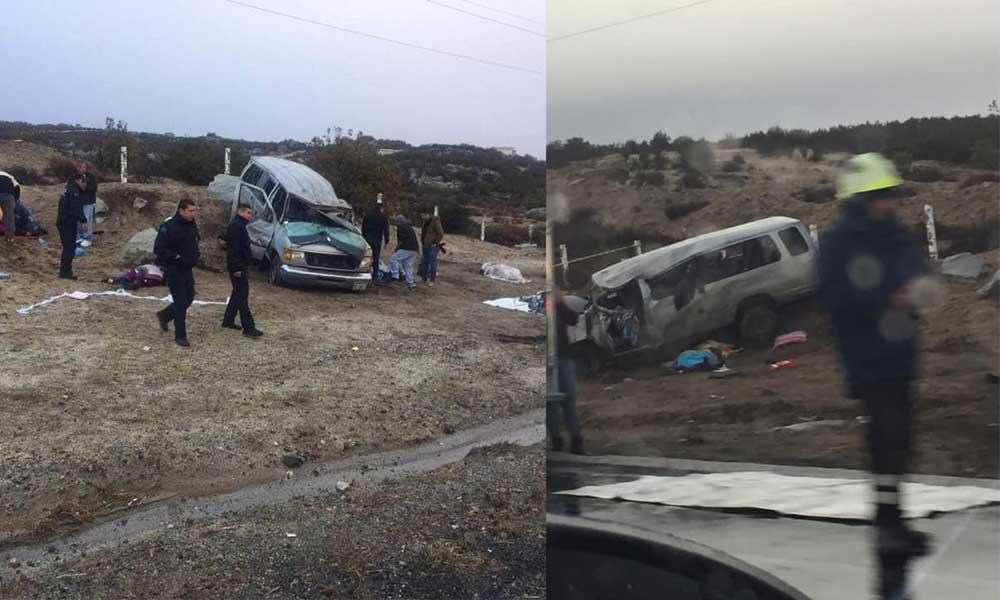 Fuerte accidente, vuelca camioneta que transportaba maestros de Mexicali a Tijuana, reportan fallecidos