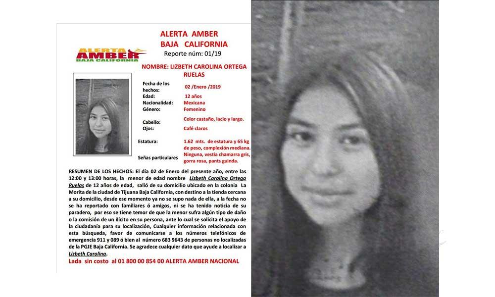 Activan Alerta Amber en Baja California, Lizbeth Ortega de 12 años está desaparecida