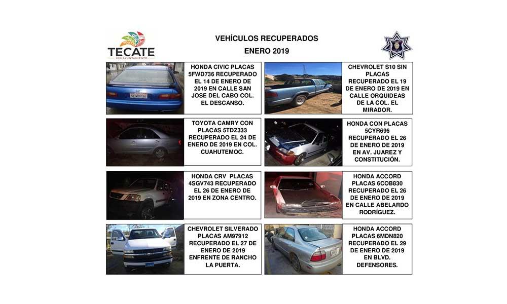 Recupera Policía Municipal 8 vehículos robados en Tecate