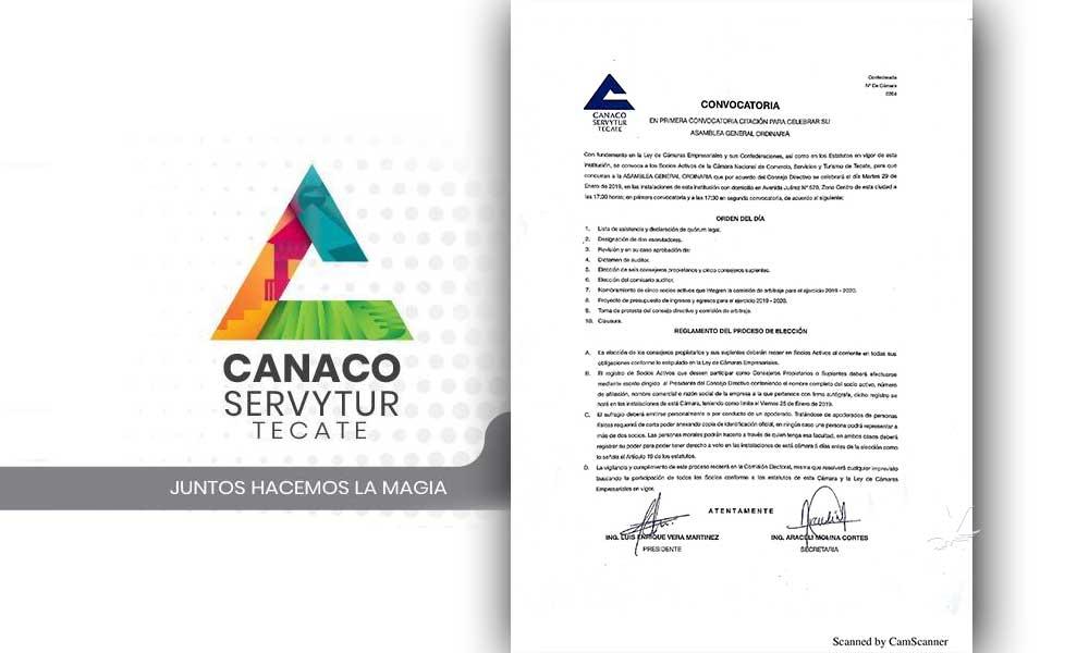 Realizará Canaco Tecate asamblea general ordinaria, convoca a sus afiliados