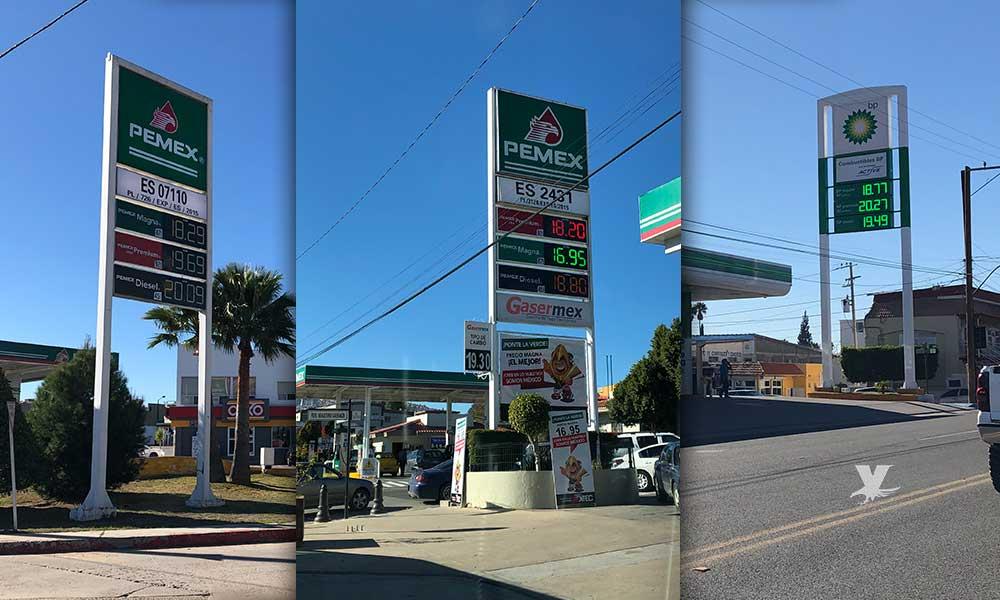 Baja la gasolina hasta los 16 pesos en Tecate