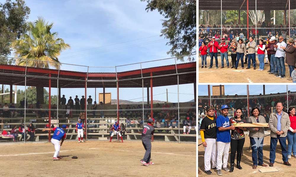 Nereida Fuentes inaugura modernización de campo de béisbol de Valle de las Palmas en Tecate