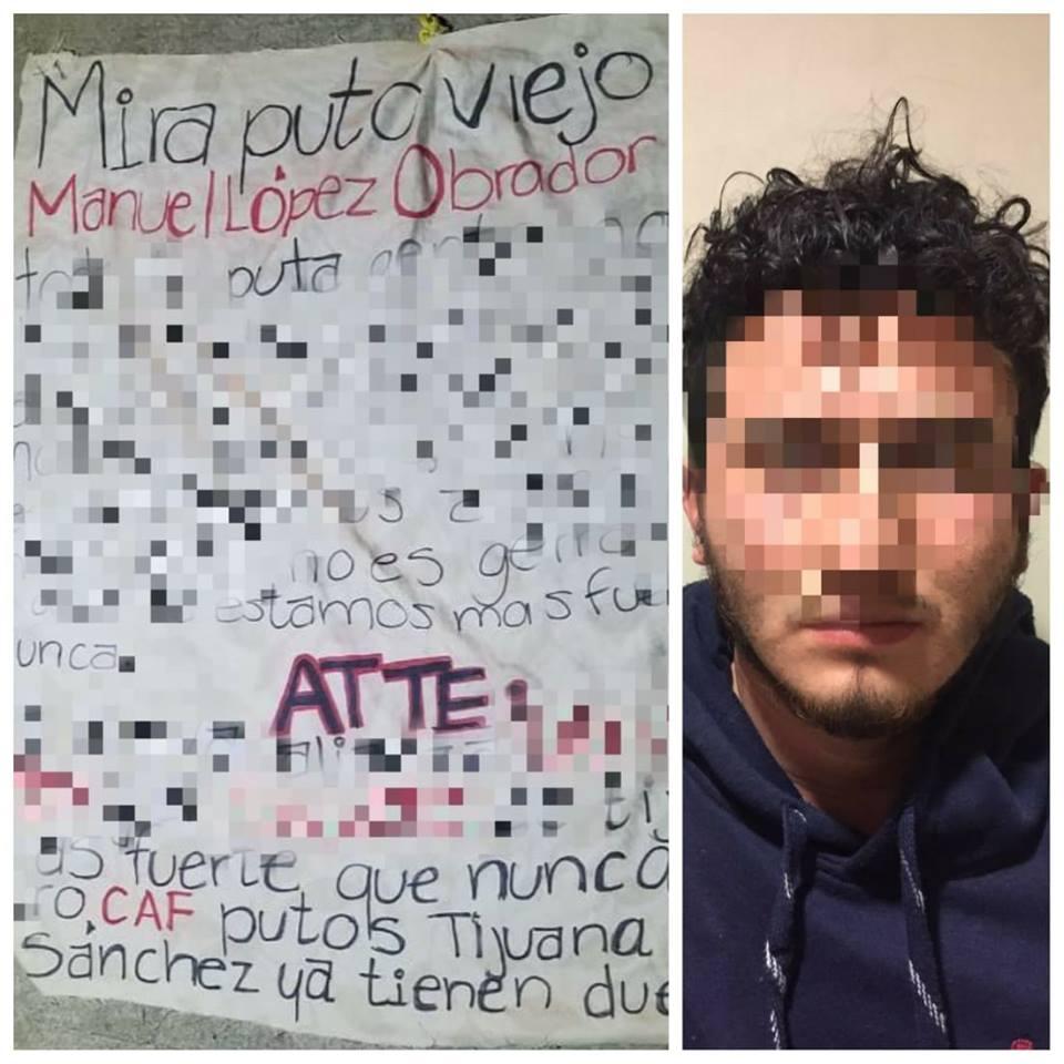 CAF deja 'narcomantas' en Tijuana amenazando al presidente AMLO y sus operativos en el municipio