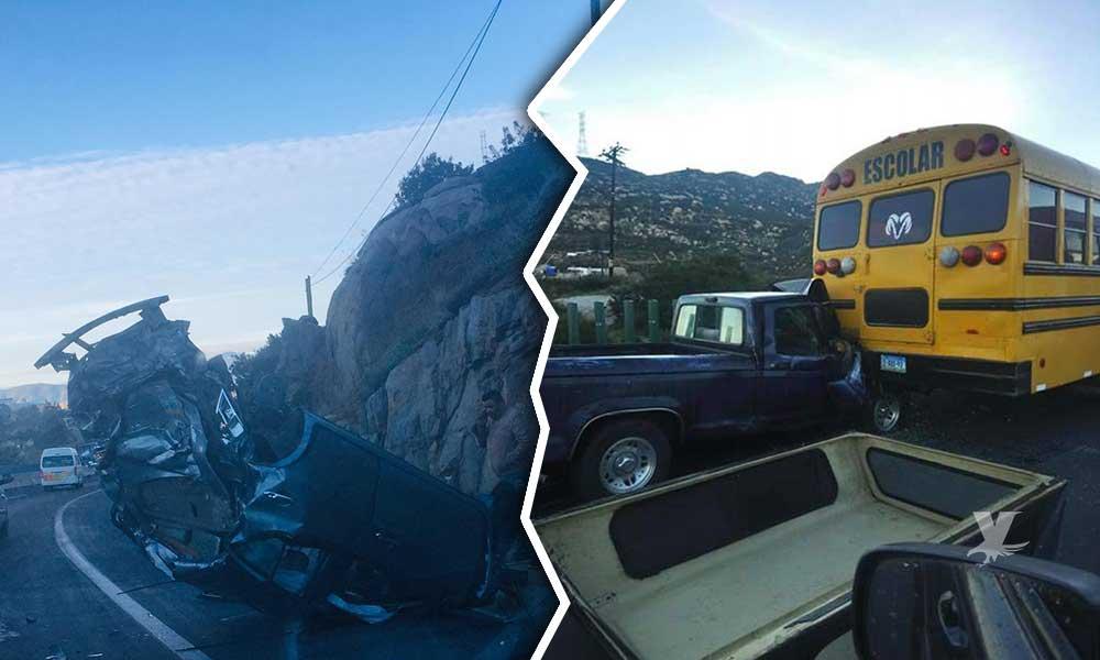 Doble accidente en carretera libre Tecate-Tijuana, camión de estudiantes de UABC se vio involucrado