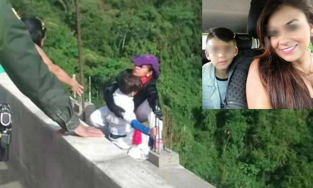 (VIEDO) Madre se arroja de puente con su hijo de 10 años entre las manos