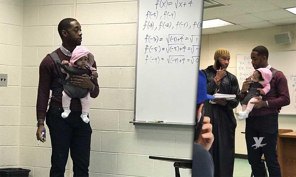 No consiguió niñera para ir a clases, y su profesor se ofreció a cargarlo