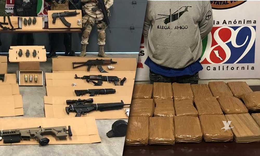 Decomisan arsenal con 30 kilos de cocaína  en Tijuana y Rosarito