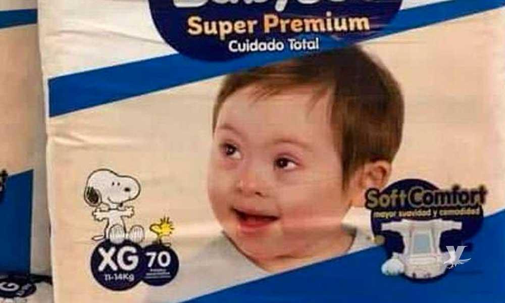 Utilizan por primera ocasión bebé con Síndrome de Down para la imagen de una marca de pañales