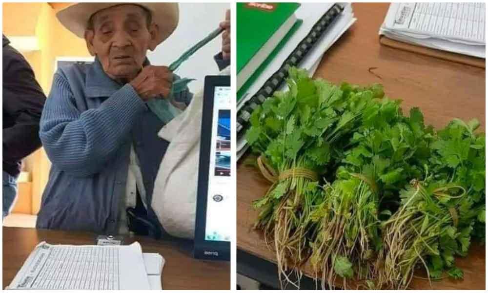 Hombre de la tercera edad intenta pagar su acta de nacimiento con cilantro