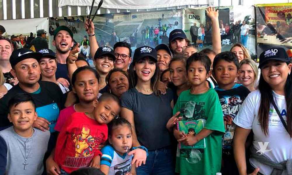 Eiza González visitó Tijuana para reunirse con los migrantes