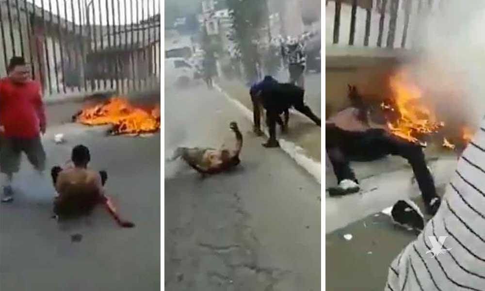 (VIDEO) Pobladores nuevamente queman a dos presuntos ladrones