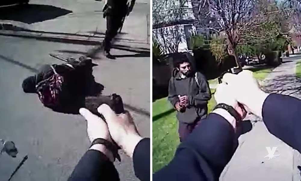 (VIDEO) Policías matan a mexicano en California que los intentó atacar con un cuchillo