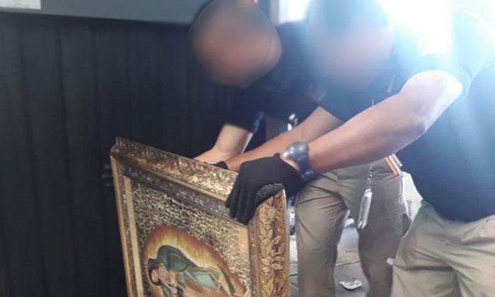 Encuentran en Aeropuerto de CDMX metanfetamina oculta en cuadros de la Virgen de Guadalupe proveniente de Tijuana