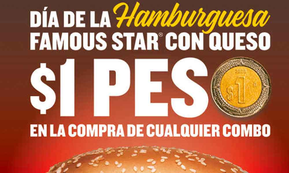 "Carl's Jr festeja el próximo martes 28 el ""Día de la Hamburguesa 2019"" con hamburguesas a $1 peso"