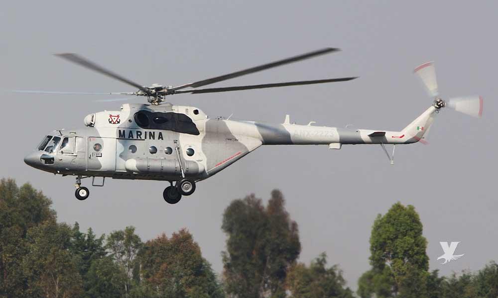 Se desploma helicóptero de la Marina mientras realizaba trabajos para apagar un incendio