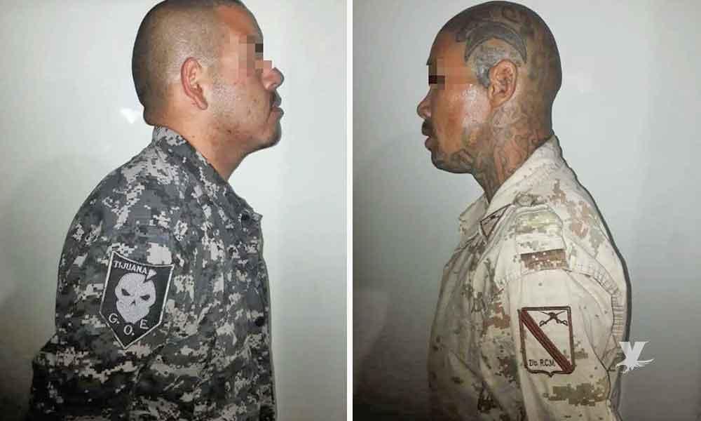 Capturan a dos sicarios en Tijuana, vestían uniformes del GOE y Sedena