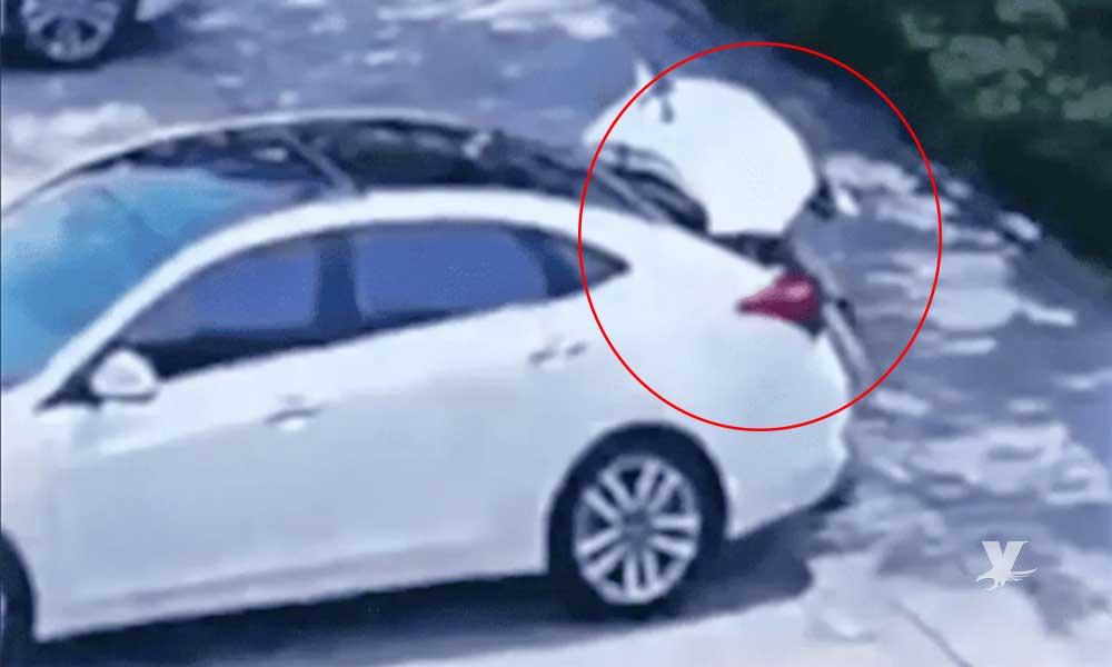 (VIDEO) Niño muere asfixiado al encerrarse en la cajuela del carro de sus padres