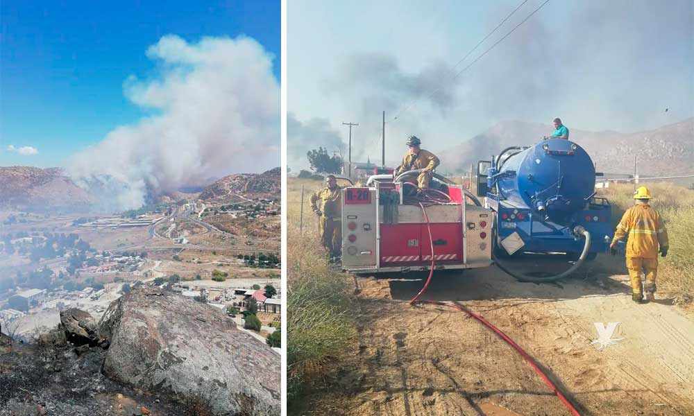 Bomberos de Tecate sofocan incendio forestal en la zona rural