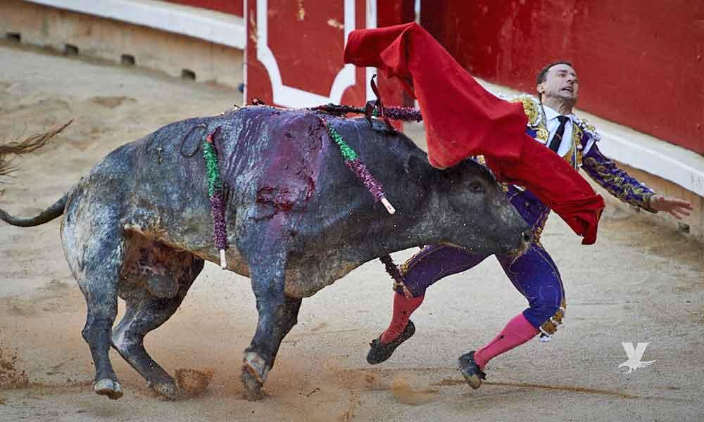 (VIDEO) Torero sufre impresionante cornada en el pecho durante los sanfermines