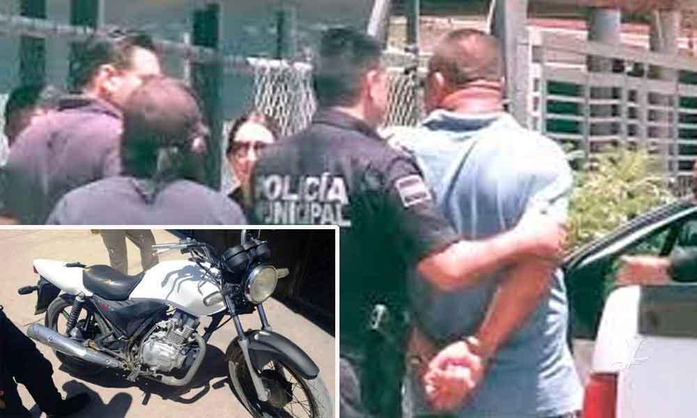 Padre e hijo son detenidos con motocicleta robada en Mexicali