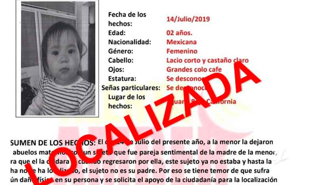 Desactivan Alerta Amber por niña de 2 años desaparecida en Baja California
