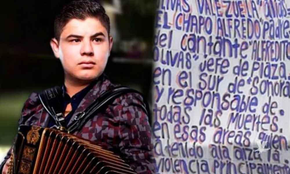 Dejan 'narcomanta' amenazando al cantante Alfredo Olivas