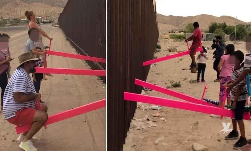 """(VIDEO) Maestro coloca """"sube y baja"""" sobre el muro fronterizo"""