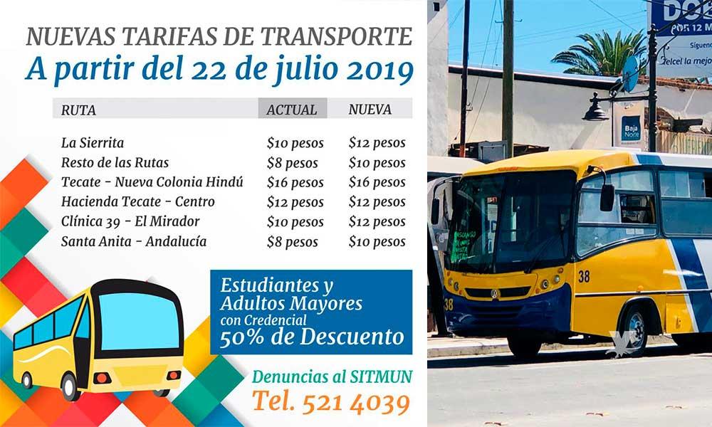 Estas son las nuevas tarifas de transporte a partir del 22 de julio en Tecate