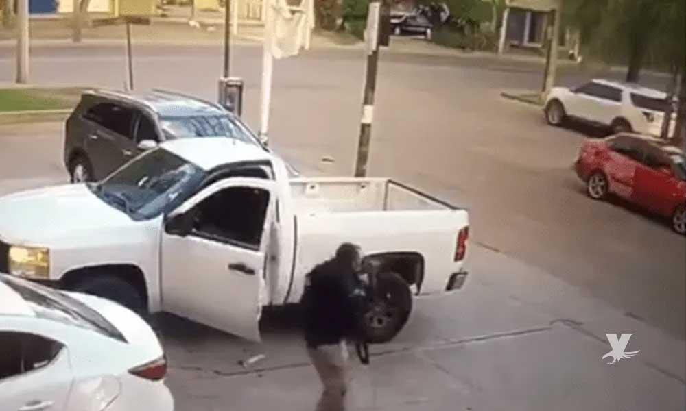 (VIDEO) Comando armado dispara contra Agentes de la Fiscalía mientras salían de una taquería