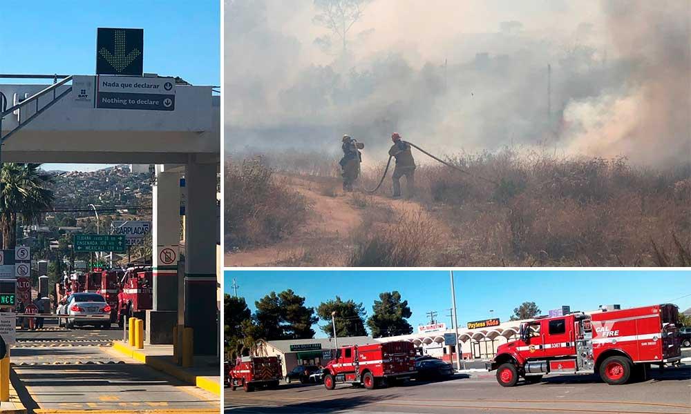 Bomberos de Estados Unidos apoyan a Bomberos de Tecate a sofocar incendio en La Paloma