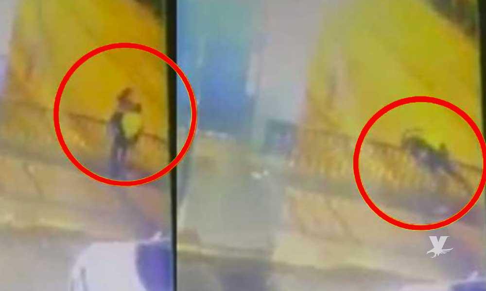 (VIDEO) Pareja pierde la vida al caer accidentalmente de un puente