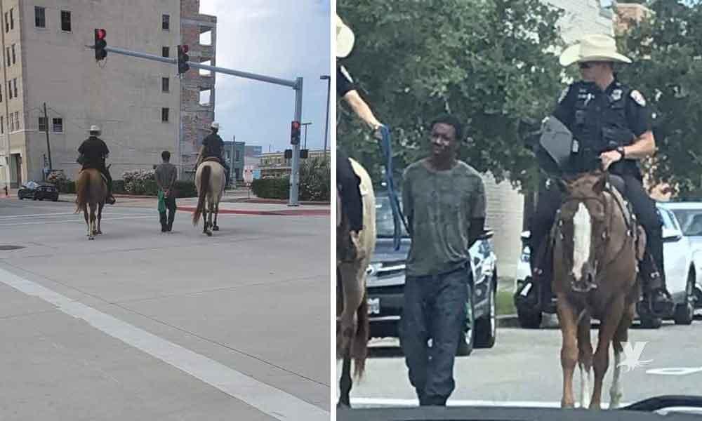 Policía montada de Texas arrestan y exhiben a hombre de color