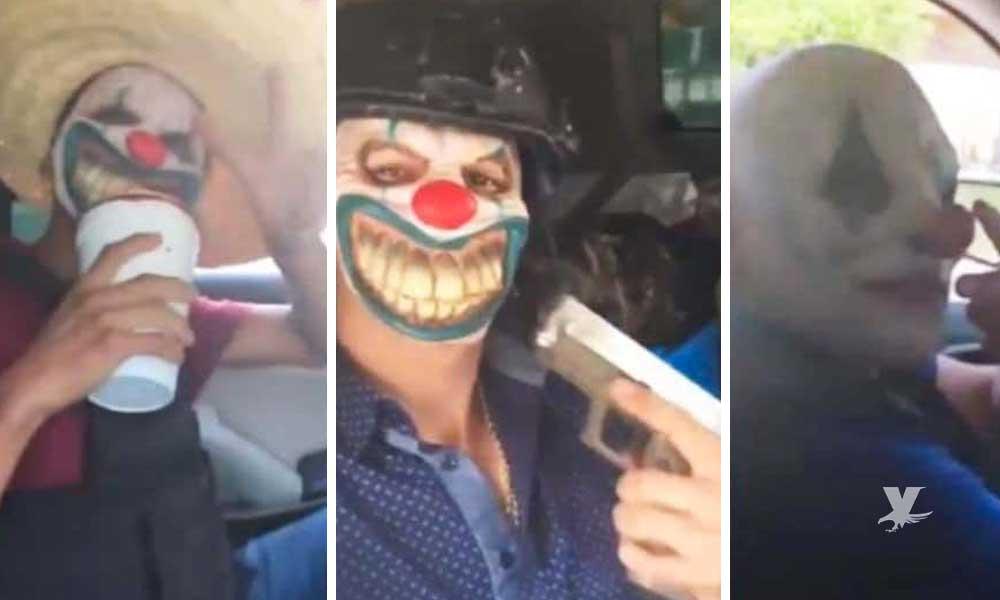 (VIDEO) Sicarios con máscaras de payaso vigilan las calles de Tamaulipas