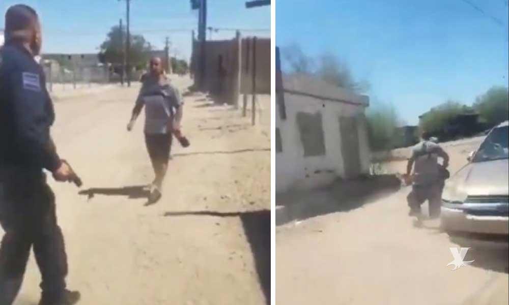 (VIDEO) Policía mata a violento hombre que intentó atacarlo con un cuchillo en SLRC