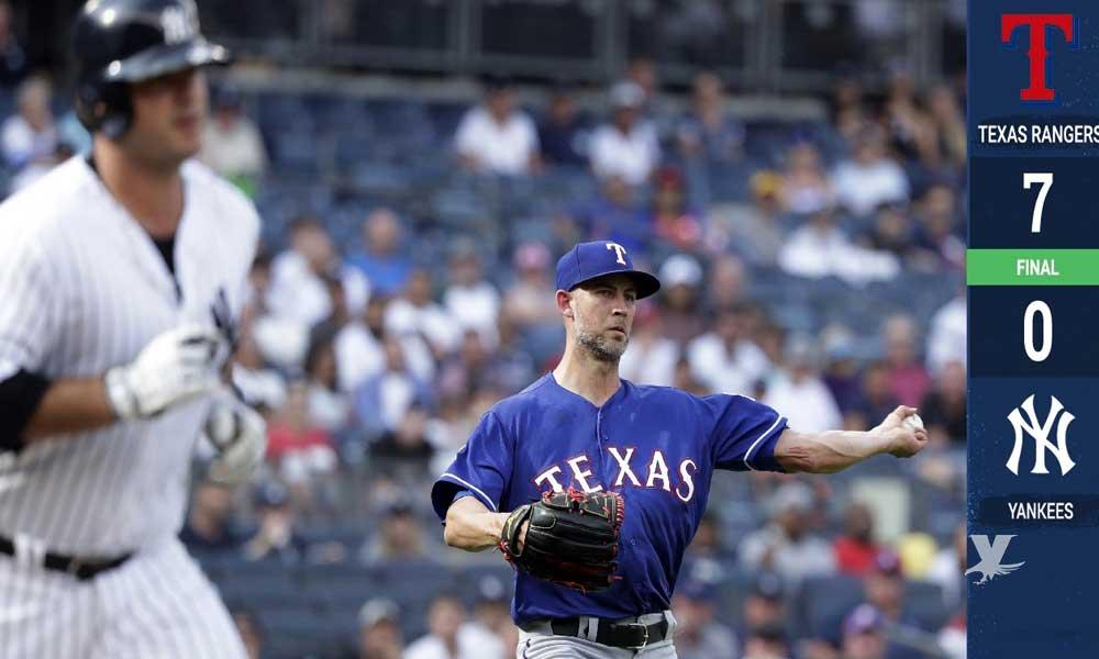 Rangers terminan con racha histórica de los Yankees, son blanqueado después de 220 partidos