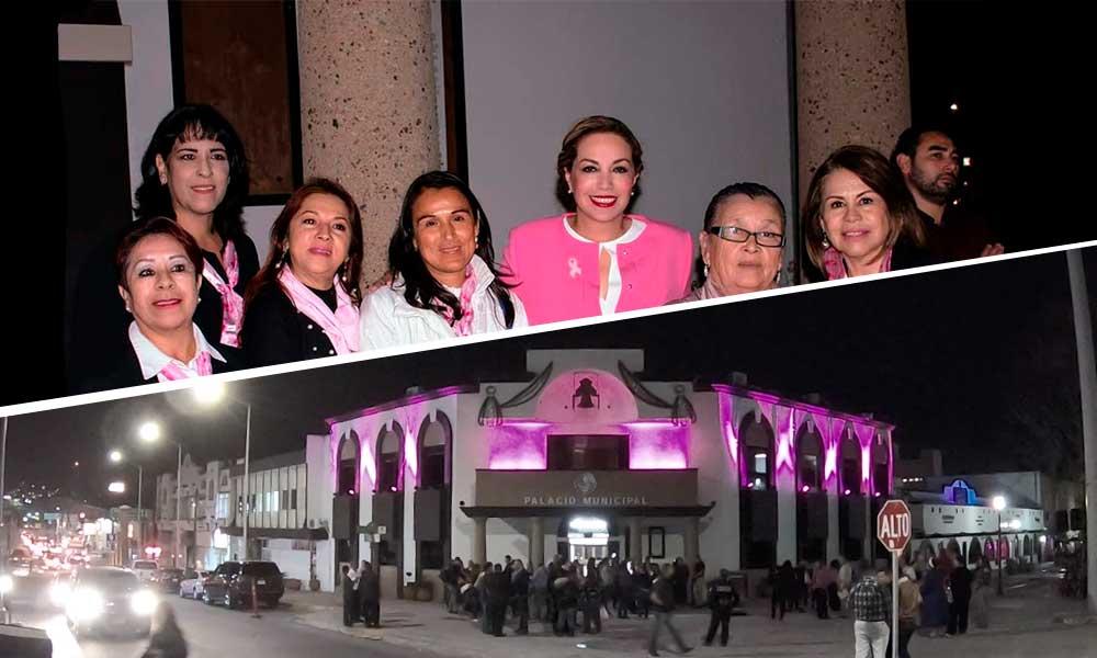 Se pinta Palacio Municipal de color rosa por la sensibilización del Cáncer de Mama en Tecate